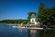 Henley. Berks, United Kingdom. Umpires Steam Launch, Consulta,<br /> <br /> 2017 Henley' Women's Regatta. Rowing on, Henley Reach. River Thames. <br /> <br /> <br /> Saturday  17/06/2017<br /> <br /> <br /> [Mandatory Credit Peter SPURRIER/Intersport Images]