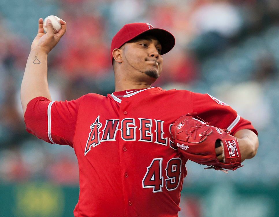 The Angels' Jhoulys Chacin pitches against the Minnesota Twins Tuesday night at Angel Stadium.<br /> <br /> ///ADDITIONAL INFO:   <br /> <br /> angels.0615.kjs  ---  Photo by KEVIN SULLIVAN / Orange County Register  -- 6/14/16<br /> <br /> The Los Angeles Angels take on the Minnesota Twins Tuesday at Angel Stadium.