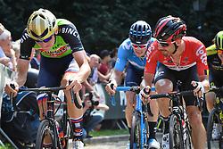 August 19, 2018 - Geraardsbergen, BELGIUM - Slovenian Matej Mohoric of Bahrain-Merida pictured in action at the Muur Kapelmuur during the final stage of the Binkcbank Tour cycling race, 209,5 km from Lacs de l'Eau d'Heure to Geraardsbergen, Belgium, Sunday 19 August 2018. BELGA PHOTO DAVID STOCKMAN (Credit Image: © David Stockman/Belga via ZUMA Press)