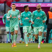 21.11.2020, Allianz Arena, Muenchen, GER,  FC Bayern Muenchen SV Werder Bremen <br /> <br /> <br />  im Bild Werder kommt auf den platz mit Maximilian Eggestein (SV Werder Bremen #35) Oemer Toprak (SV Werder Bremen #21) Theodor Gebre Selassie (Werder Bremen #23)<br /> <br /> <br /> <br /> Foto © nordphoto / Straubmeier / Pool/ <br /> <br /> DFL regulations prohibit any use of photographs as image sequences and / or quasi-video.