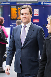 © Licensed to London News Pictures . 28/01/2013 . Manchester , UK . GEORGE OSBORNE (left) , the British Chancellor of the Exchequer and MP for Tatton with Dyan Crowther (MD Network Rail NW Route) at Manchester Piccadilly Train Station today (28th January 2013) as the government are due to reveal the proposed route for HS2 rail , linking Manchester , Leeds and Birmingham to London . Photo credit : Joel Goodman/LNP