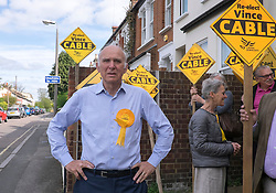 © Licensed to London News Pictures. 04/05/2015. South West London, UK. VINCE CABLE. Deputy Prime Minister Nick Clegg and Business Secretary Vince Cable at Vince Cable's Constituency Office in Twickenham. Nick Clegg, Deputy Prime Minister and Leader of the Liberal Democrats campaigns in the UK General Election in South West London today 4th May 2015. Photo credit : Stephen Simpson/LNP