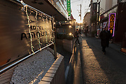 Signs for love hotels or fashion hotels as they are called in Ugguisudani, Tokyo, Japan Friday January 9th 2015.