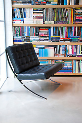 Bookcase and Leather Easy Chair