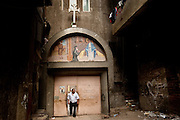 An entrance to one of the Garbage City's Coptic Christian churches.