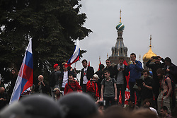 June 12, 2017 - Saint Petersburg, Russia - People chant slogans during an Anti-corruption rally in St. Petersburg, Russia, on June 12, 2017. About 10 thousand people have participated, about 500 are detained. (Credit Image: © Valya Egorshin/NurPhoto via ZUMA Press)