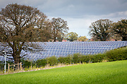 Salhouse Solar Park has an electrical output of 4.987 MW saving emissions of 4890 tonnes of C02 per year. Norfolk. UK.(photo by Andrew Aitchison / In pictures via Getty Images)