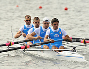 Marathon, GREECE, ITA, LM4-  Bow Salvotore AMITRANO, Fabrizo GAABRIELLE, Andrea CAIANIELLO and Armando DELL'AQUILLA, at the FISA European Rowing Championships.  Lake Schinias Rowing Course, FRI 19.09.2008  [Mandatory Credit Peter Spurrier/ Intersport Images] , Rowing Course; Lake Schinias Olympic Rowing Course. GREECE