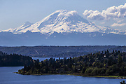 A view of Mount Rainier from Seattle in April 2019. (Bettina Hansen / The Seattle Times)