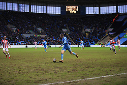 6 January 2018 -  The FA Cup - 3rd Round - Coventry City v Stoke City - A general view (GV) of Ricoh Arena as Jordan Shipley of Coventry City makes a run down the wing on a muddy pitch - Photo: Marc Atkins/Offside