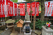 A statue of Fukurokuju, one of the Seven Gods of Fortune at the Toyokawa Inari Betsuin temple in Asakusa, Tokyo, Japan. The Buddhist temple is part of the Soto Zen sect and enshrines the deity Toyokawa Dakinishinten but also known for the thousands of fox statues.