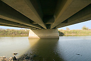 Israel, Hasharon district, Under a highway bridge over the Alexander, river