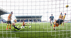 Alloa Athletic's Jason Marr saves Falkirk's Lee Miller shot. <br /> Falkirk 2 v 0 Alloa Athletic, Scottish Championship game played 5/3/2016 at The Falkirk Stadium.