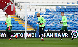 Republic of Ireland's goalkeepers Colin Doyle (right), Sean McDermott (left) and Darren Randolph during the training session at Cardiff City Stadium.