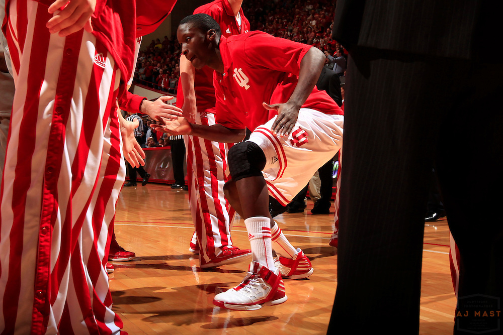 05 January 2012: Indiana Guard Victor Oladipo (4)  as the Indiana Hoosiers played the University of Michigan Wolverines in a college basketball game in Bloomington, Ind.