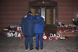 November 4, 2019, Liverpool, UNITED KINGDOM: Genk's general director Eric Gerits and Genk's chairman Peter Croonen pictured during a tribute to the victims of Hillsborough disaster in 1989, in marge of a training session of Belgian soccer team KRC Genk, Monday 04 November 2019 in Liverpool, United Kingdom, in preparation of tomorrow's match against English club liverpool FC in the group stage of the UEFA Champions League. BELGA PHOTO YORICK JANSENS (Credit Image: © Yorick Jansens/Belga via ZUMA Press)