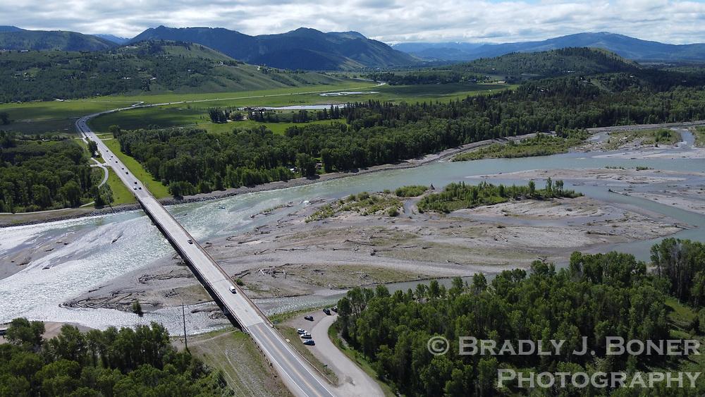 Aerial of the Snake River Bridge on Highway 22
