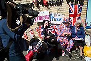 London, UK. Thursday 23rd April 2015. Royalist Terry Hutt with other royalists opposite the Lindo Wing of St Mary's Hospital, where Kate Middleton, Duchess of Cambridge is due to give birth to her second child. Proud to be dressed in Union Jack flags for birth of the latest Royal baby. Terry is always a key part of these events and commands much media attention. Will it be a Prince or a Princess.
