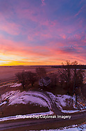 63895-17518 Aerial view of Pleasant Grove Church at sunrise in winter Marion Co. IL