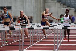 Denmark's Mette Graversgaard wins her 100m hurdles heat at the Aarhus Nordic Challenge 2016 at Ceres Park, Aarhus, Denmark, 25.6.2016. (Allan Jensen/EVENTMEDIA).