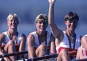 Barcelona, SPAIN.  GER W4X Gold Medalist, Kerstin MUELLER, Kristina MUNDT - RICHTER, Birgit PETER, Sybille SCHMIDT. 1992 Olympic Rowing Regatta Lake Banyoles, Catalonia [Mandatory Credit Peter Spurrier/ Intersport Images]