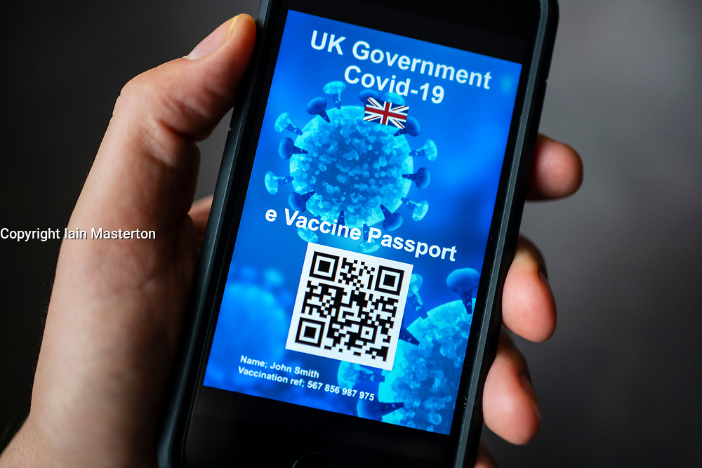 Conceptual design of possible UK electronic Covid-19 vaccination passport using QR code on a smart phone.