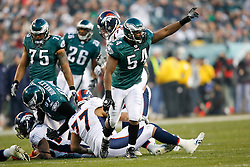 Philadelphia Eagles linebacker Jeremiah Trotter #54 reacts after a play during the NFL game between the Denver Broncos and the Philadelphia Eagles on December 27th 2009. The Eagles won 30-27 at Lincoln Financial Field in Philadelphia, Pennsylvania. (Photo By Brian Garfinkel)