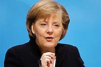 23 JAN 2006, BERLIN/GERMANY:<br /> Angela Merkel, CDU Bundesvorsitzende und Bundeskanzlerin, waehrend einer Pressekonferenz, Konrad-Adenauer-Haus<br /> Angela Merkel, Federal Chancellor of Germany, during a press conference, Konrad-Adenauer-Haus<br /> IMAGE: 20060123-02-006