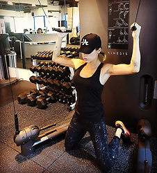 """Elisabetta Canalis releases a photo on Instagram with the following caption: """"Upper body workout completed for today ! Thanks Michael and thanks @technogym #ITrainwithtechnogym \ud83d\udc4d\ud83c\udffc"""". Photo Credit: Instagram *** No USA Distribution *** For Editorial Use Only *** Not to be Published in Books or Photo Books ***  Please note: Fees charged by the agency are for the agency's services only, and do not, nor are they intended to, convey to the user any ownership of Copyright or License in the material. The agency does not claim any ownership including but not limited to Copyright or License in the attached material. By publishing this material you expressly agree to indemnify and to hold the agency and its directors, shareholders and employees harmless from any loss, claims, damages, demands, expenses (including legal fees), or any causes of action or allegation against the agency arising out of or connected in any way with publication of the material."""