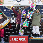 Winners of the Women's Slopestyle Finals, Jamie Anderson, USA, (centre) first place, Kjersti Ostgaard Buaas, Norway, (right) second place and Jordie Karlinski, USA, (left) third place at the Burton New Zealand Open 2011 held at Cardrona Alpine Resort, Wanaka, New Zealand, 12th August 2011. Photo Tim Clayton
