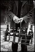 winemaker with bottle rack, Rhone, France