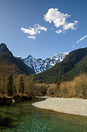 Blanshard and Edge Peaks rise above Gold Creek at Golden Ears Provincial Park in Maple Ridge, British Columbia, Canada