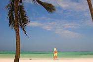 A catamaran on Kiwengwa Beach near the Blue Bay Hotel.  Zanzibar, Tanzania