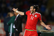 Gareth Bale of Wales reacts as he waits for the ball to take a throw in. .Wales v Georgia , FIFA World Cup qualifier, European group D match at the Cardiff city Stadium in Cardiff on Sunday 9th October 2016. pic by Andrew Orchard, Andrew Orchard sports photography