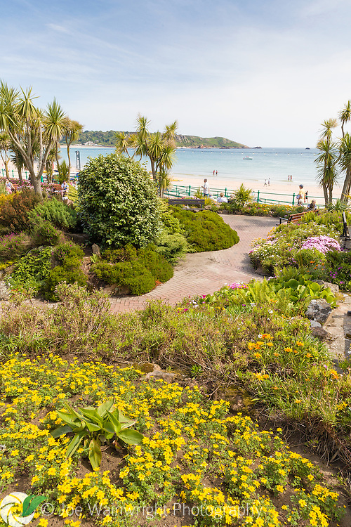 Gardens on the promenade at St. Brelade, Jersey, photographed in June