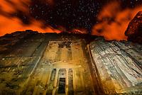 The Treasury monument (Al-Khazneh) at night, Petra archaeological site (a UNESCO World Heritage site), Jordan.
