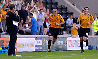 Photo: Jed Wee/Sportsbeat Images.<br /> Hull City v Norwich City. Coca Cola Championship. 25/08/2007.<br /> <br /> Hull's Dean Windass (C) celebrates after opening the scoring, as Norwich manager Peter Grant (L) looks on.