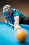 Bernie Kapinos plays a game of billiards at Three Cushion Billiards in Madison, WI on Friday, May 10, 2019.