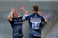 Rugby Union - 2020 / 2021 Gallagher Premiership - Round 18 - Sale Sharks vs Leicester Tigers - A J Bell Stadium<br /> <br /> Faf de Klerk of Sale Sharks celebrates with try scorer Byron McGuigan