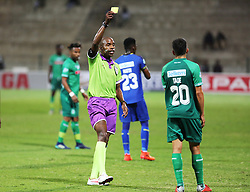 23102018 (Durban) Match Referee Thokozani Mkhize giving Amazulu player Emiliano Tade a yellow card during the first round of the Telkom Knockout concludes on Tuesday night when Amazulu walloped the MTN8 Cup winners Cape Town City  2-0 at the King Zwelithini stadium, Durban. Amazulu making their way to the quarter finals were they would be playing against Orlando Pirates at the same venue.<br /> Picture: Motshwari Mofokeng/African News Agency (ANA)