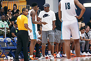 THOUSAND OAKS, CA Sunday, August 12, 2018 - Nike Basketball Academy. Ron Harper address DJ Jeffries 2019 #13 of Olive Branch HS from the bench. <br /> NOTE TO USER: Mandatory Copyright Notice: Photo by Jon Lopez / Nike