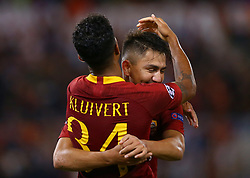 October 2, 2018 - Rome, Italy - AS Roma v Viktoria Plzen : UEFA Champions League Group G.Justin Kluivert of Roma celebrates with Cengiz Under after the goal of 4-0 scored at Olimpico Stadium in Rome, Italy on October 2, 2018. (Credit Image: © Matteo Ciambelli/NurPhoto/ZUMA Press)