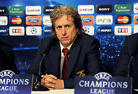 FOOTBALL - CHAMPIONS LEAGUE 2010/2011 - GROUP STAGE - GROUP B - OLYMPIQUE LYONNAIS v SL BENFICA - 20/10/2010 - PHOTO JEAN MARIE HERVIO / DPPI - JORGE JESUS (BENFICA COACH) DURING PRESS CONFERENCE AT THE END OF MATCH