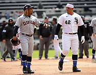 CHICAGO - APRIL 15:  Yermin Mercedes #42 of the Chicago White Sox (R) and Jose Ramirez #42 of the Cleveland Indians walk off the field after both benches emptied during the first inning of the game against the Cleveland Indians as Major League Baseball celebrated Jackie Robinson Day on April 15, 2021 at Guaranteed Rate Field in Chicago, Illinois.  (Photo by Ron Vesely/Getty Images).  (Photo by Ron Vesely) Subject:  Yermin Mercedes; Jose Ramirez