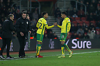 Football - 2016 / 2017 FA Cup - Third Round Replay: Southampton vs. Norwich City<br /> <br /> Josh Murphy of Norwich City is replaced by his brother Jacob Murphy of Norwich City at St Mary's Stadium Southampton England<br /> <br /> COLORSPORTt/SHAUN BOGGUST