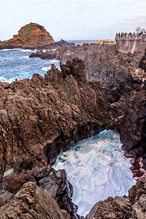 The rugged coastline in Porto Moniz, Madeira. Porto Moniz is famous for its natural swimming pools and its pure, beautiful scenery.