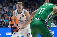 Real Madrid Giorgi Shermadiniand Unicaja Luka Doncic during Turkish Airlines Euroleague match between Real Madrid and Unicaja at Wizink Center in Madrid, Spain. November 16, 2017. (ALTERPHOTOS/Borja B.Hojas)