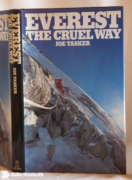 EVEREST THE CRUEL WAY, Joe Tasker, Eyre Methuen, London, 1981, 1st Uk edn., hardback with VG+ jacket, Ex-lib with usual stamps - sl cant to spine -  An exciting account of his winter attempt on Everest and his second book, Savage Arena, was finished just before he left for Everest in 1982, an expedition from which he didn't return, $NZ55 (Copy#3) ( $115 when a VG+ copy)