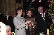 Cherie Blair, the wife of the Prime Minister of the Lebanon, Mrs.  Nazek Rafic Harini and Lord Eden of Winton. British Lebanese Association fashion show and dinner. Naturqal History Museum. 5 April 2001. © Copyright Photograph by Dafydd Jones 66 Stockwell Park Rd. London SW9 0DA Tel 020 7733 0108 www.dafjones.com