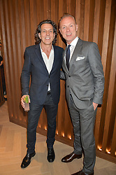 Left to right, STEPHEN WEBSTER and GARY KEMP at a party to celebrate the launch of the new Stephen Webster Salon at 130 Mount Street, London on 18th May 2016.
